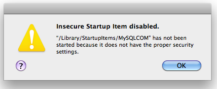 Do you get this message at startup?