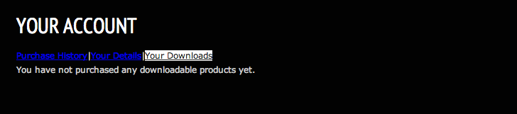 """Default WP eCommerce """"My Account"""" page"""