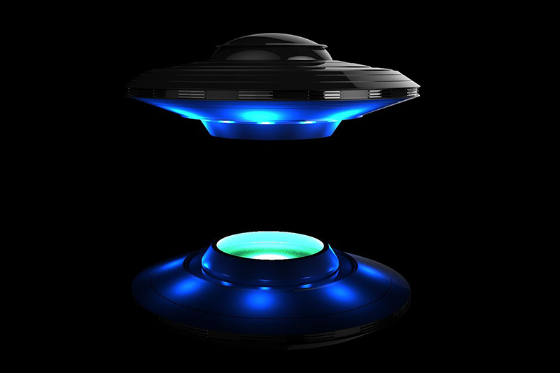 Graphic of UFO hovering